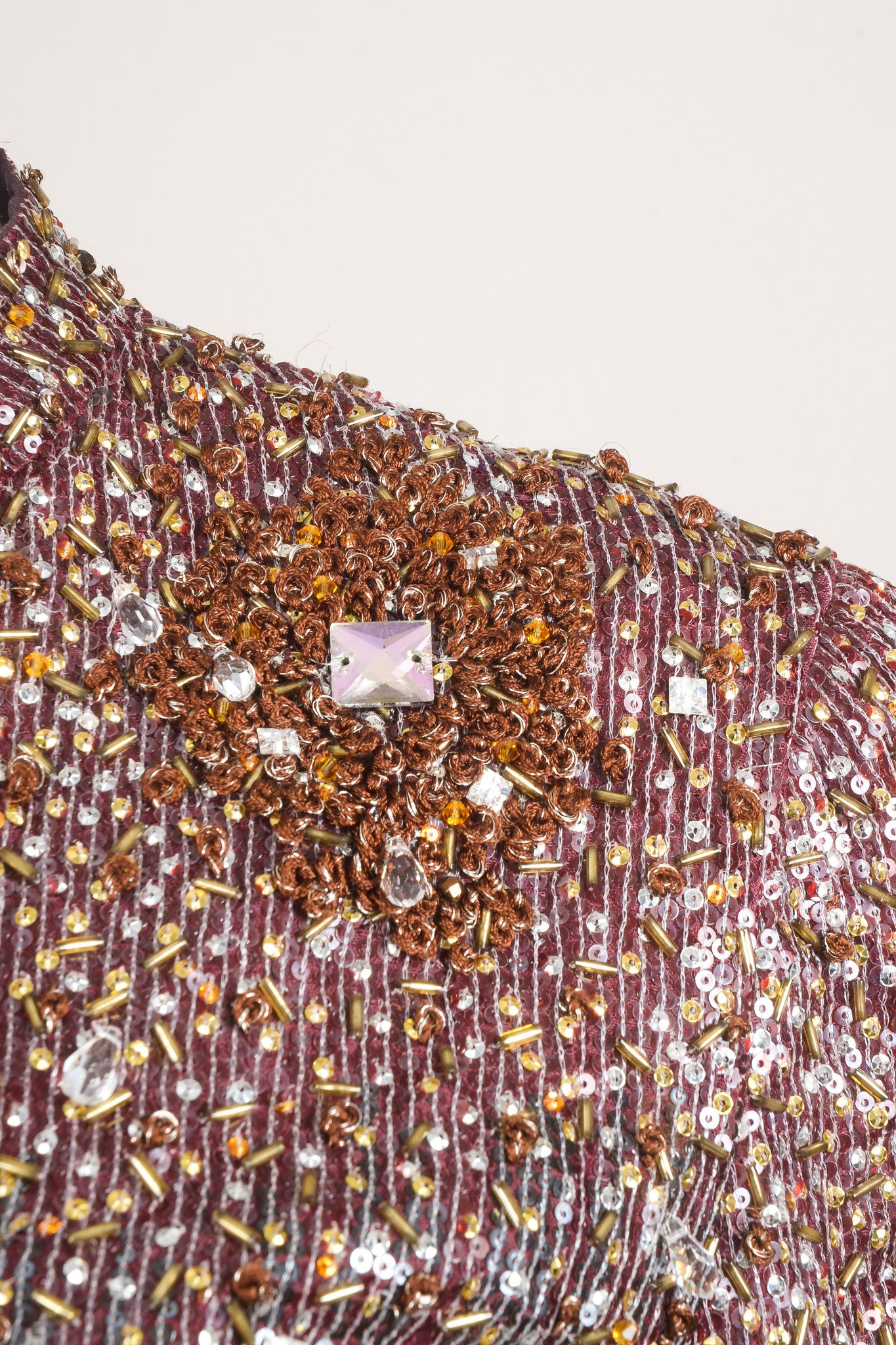 Badgley Mischka Burgundy and Multicolor Sequin Beaded Embellishment Long Sleeve Jacket Detail