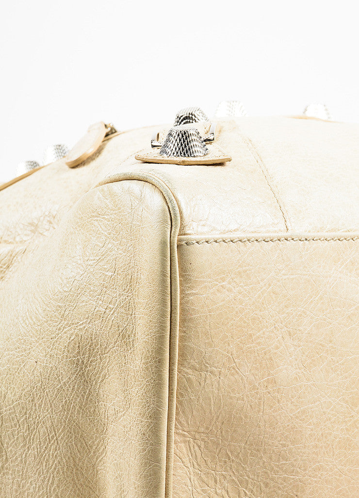 "Balenciaga Beige Distressed Leather ""Giant Midday"" Silver Toned Stud Shoulder Bag Detail"