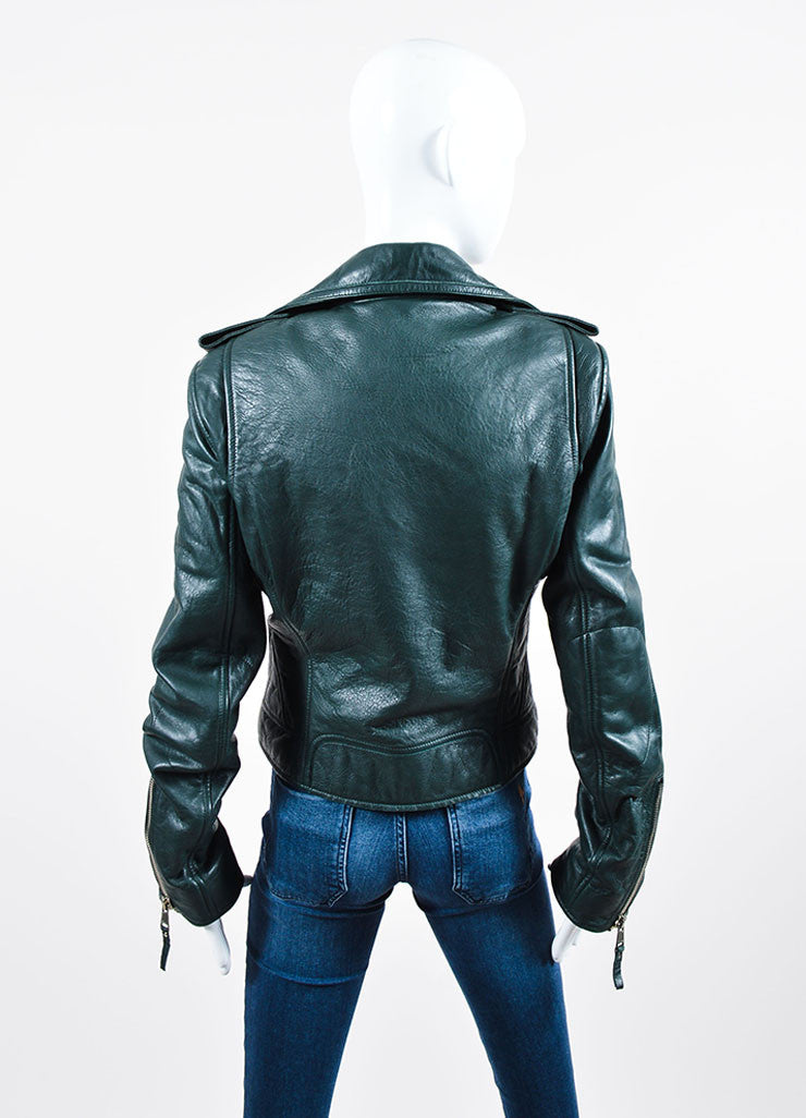 Dark Green Balenciaga Leather Long Sleeve Moto Jacket Backview