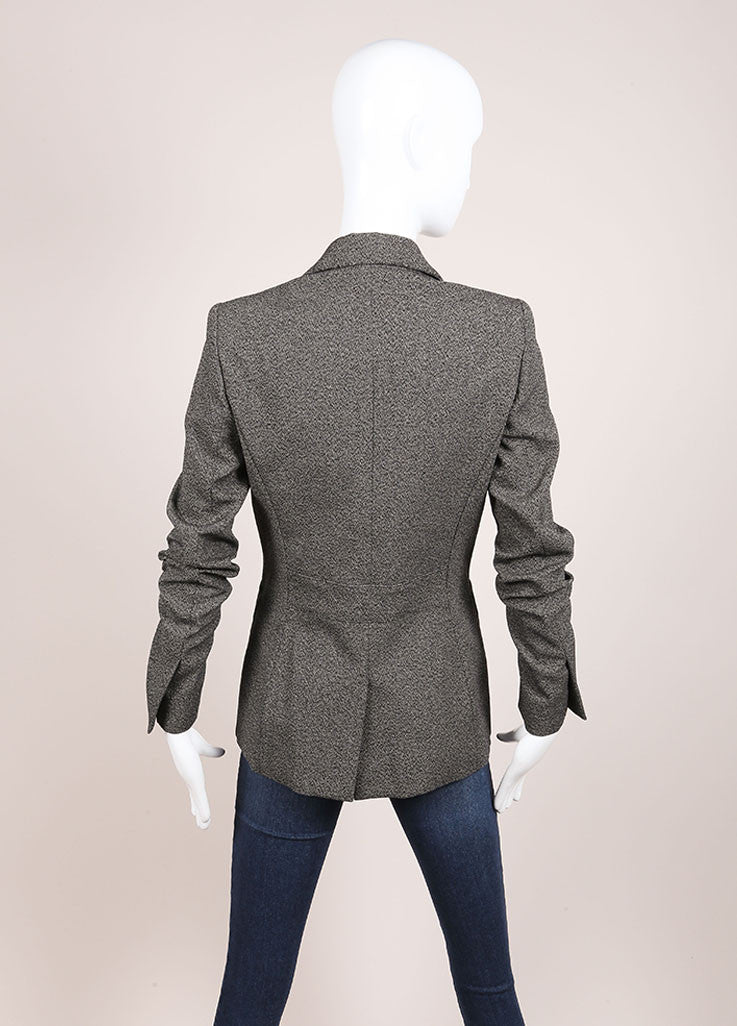 Balenciaga Grey and Black Speckled Stretch Cotton Long Sleeve Buttoned Blazer Backview