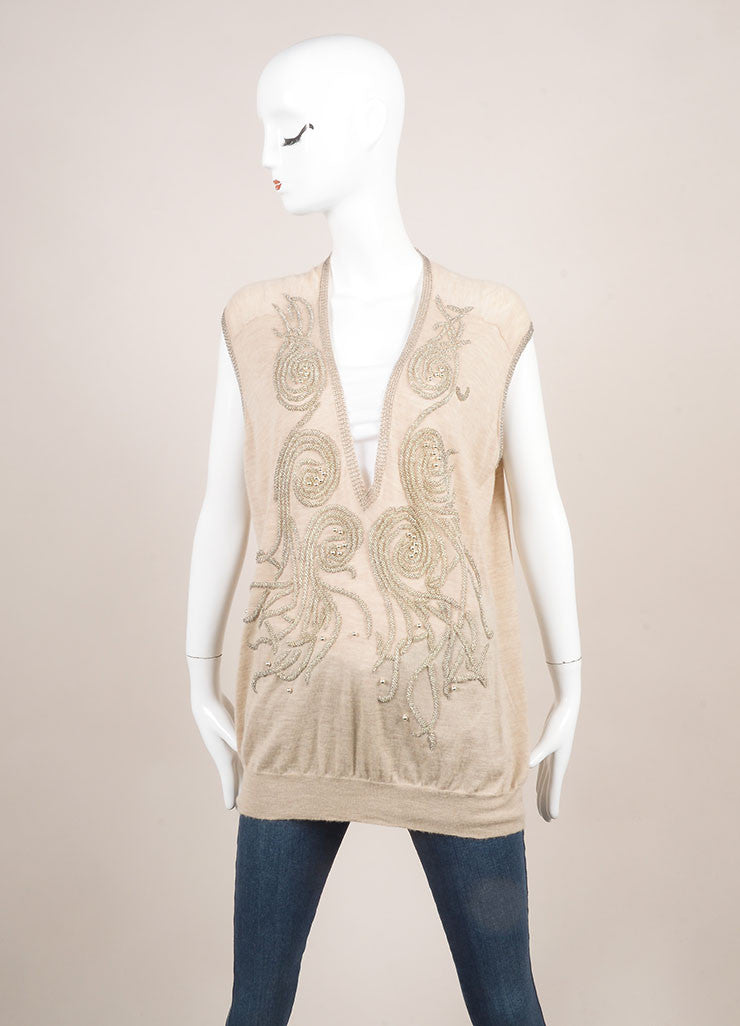 Balenciaga Tan and Silver Metallic Beaded Oversized Cashmere Sleeveless Vest Frontview