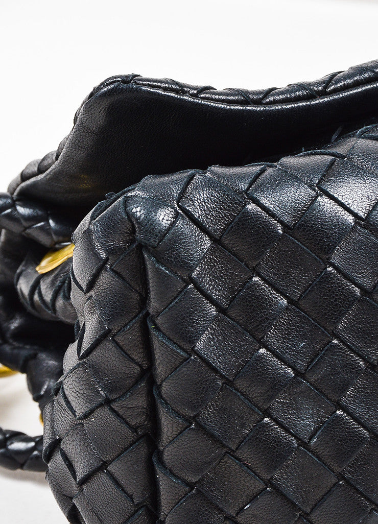 Bottega Veneta Black Woven Leather Flap Shoulder Bag Detail