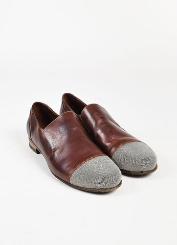 Brunello Cucinelli Brown Leather Silver Beaded Slip On Loafers Frontview