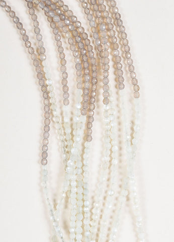 Brunello Cucinelli Moonstone, Agate, and Quartz Multi Strand Ombre Beaded Necklace Detail
