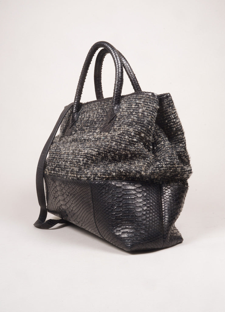 Carlos Falchi Grey and Black Tweed and Snakeskin Leather Large 2 Way Tote Bag Sideview