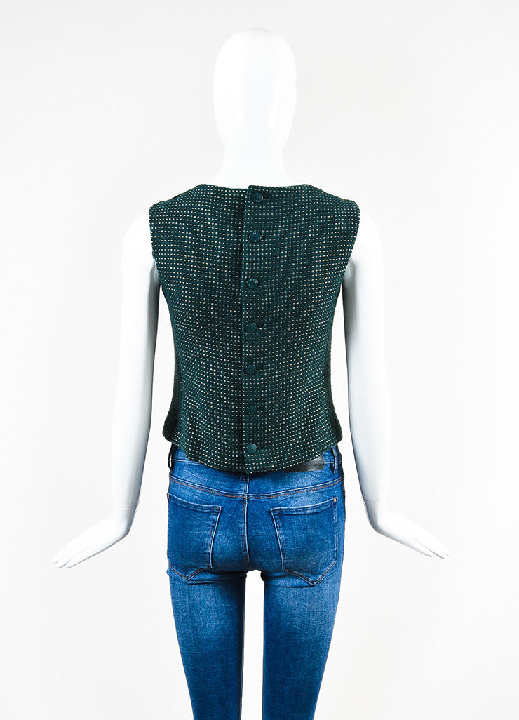 Chanel Hunter Green and Gold Wool Dotted Embellished Sleeveless Shell Top Backview