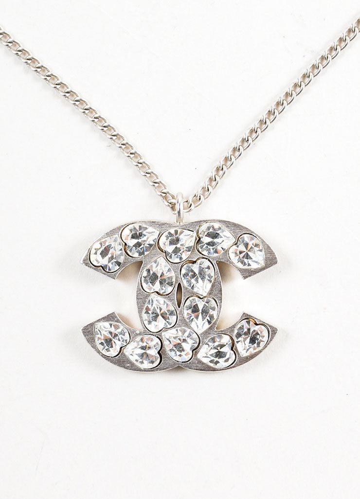 Silver Toned Chanel Rhinestone Heart 'CC' Logo Pendant Chain Necklace Detail