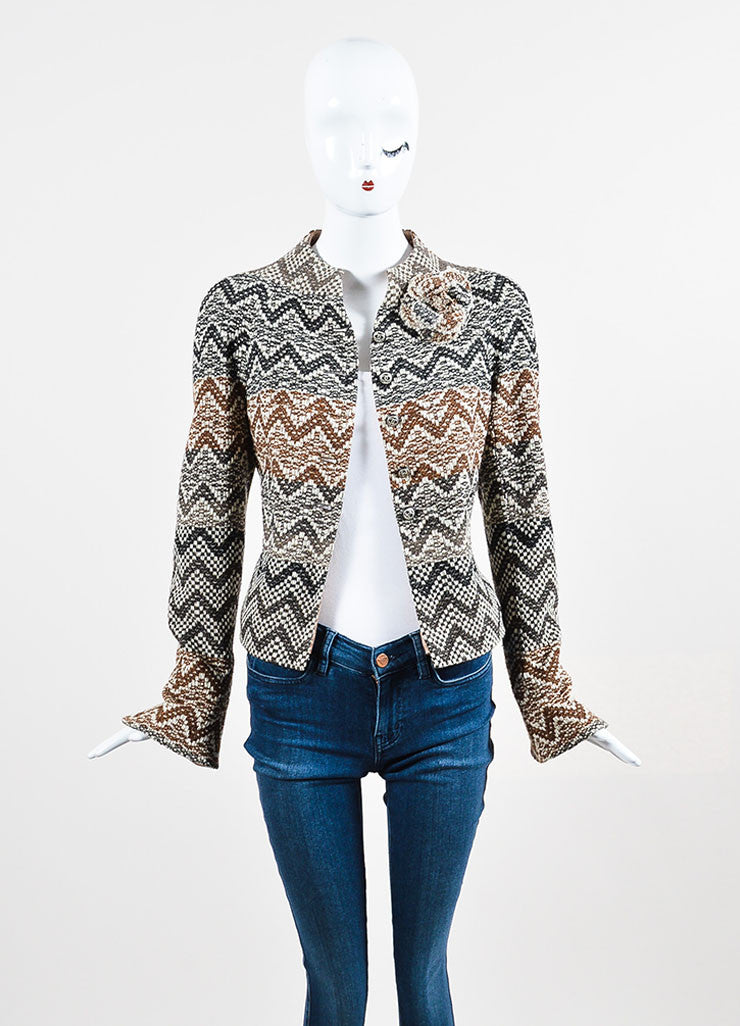 Brown and Cream Chanel Wool Tweed Chevron 'CC' Button Flower Jacket Frontview