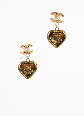 Chanel Gold Toned and Green Crystal and Gripoix Heart & Clover 'CC' Drop Earrings Backview