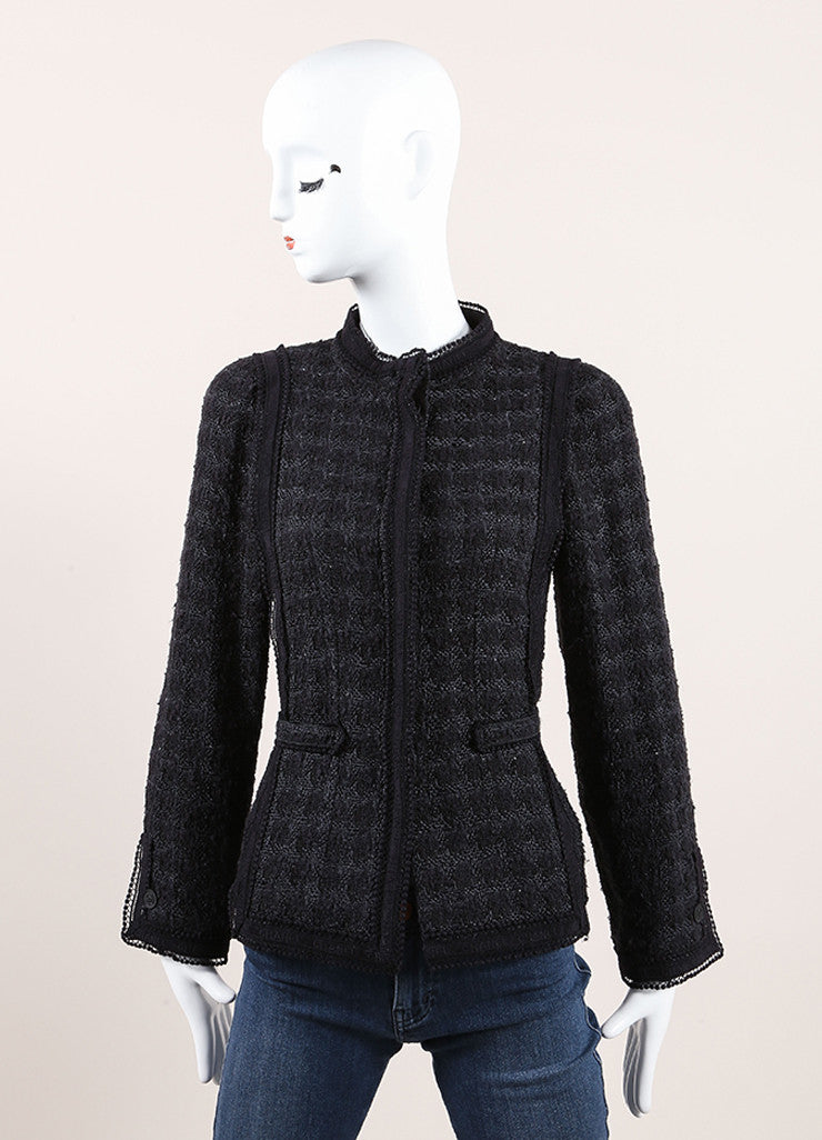 Chanel Black and Navy Blue Cotton and Silk Tweed Tie Back Button Down Jacket  Frontview