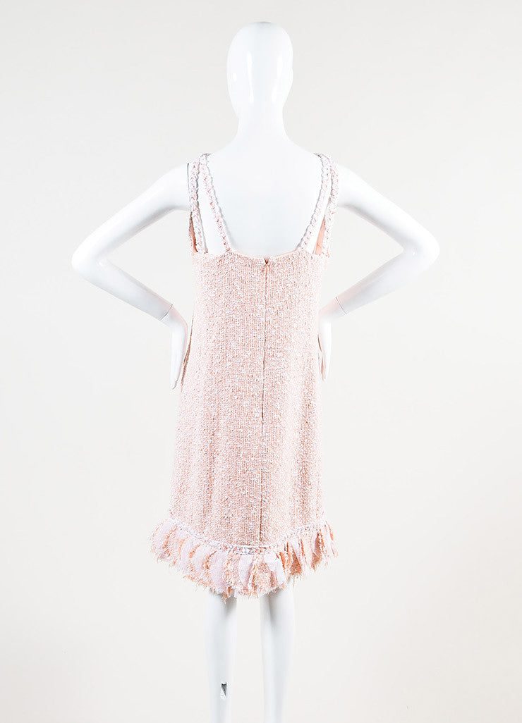Chanel Peach and White Tweed Cross Strap Strip Ruffled Shift Dress Backview