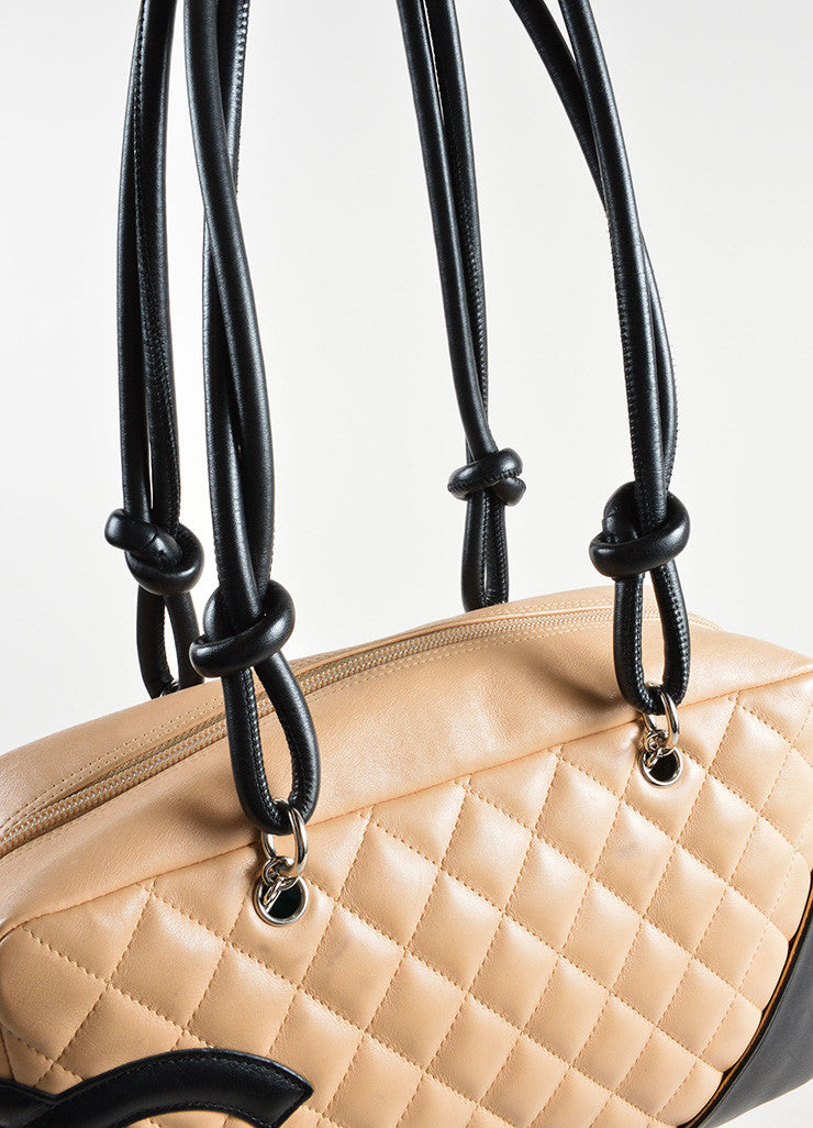 Chanel Beige and Black Quilted Leather Cambon Ligne Bowler Tote Bag Detail 2