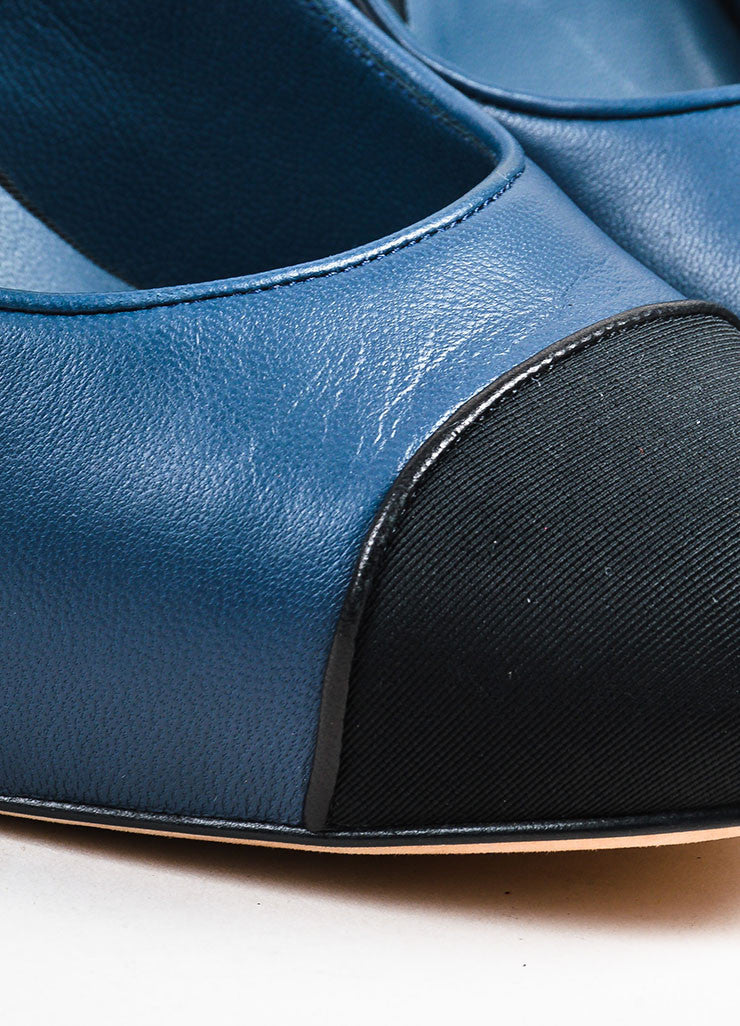 Navy Blue Chanel Leather Silk Cap Toe Slingback Pumps Detail