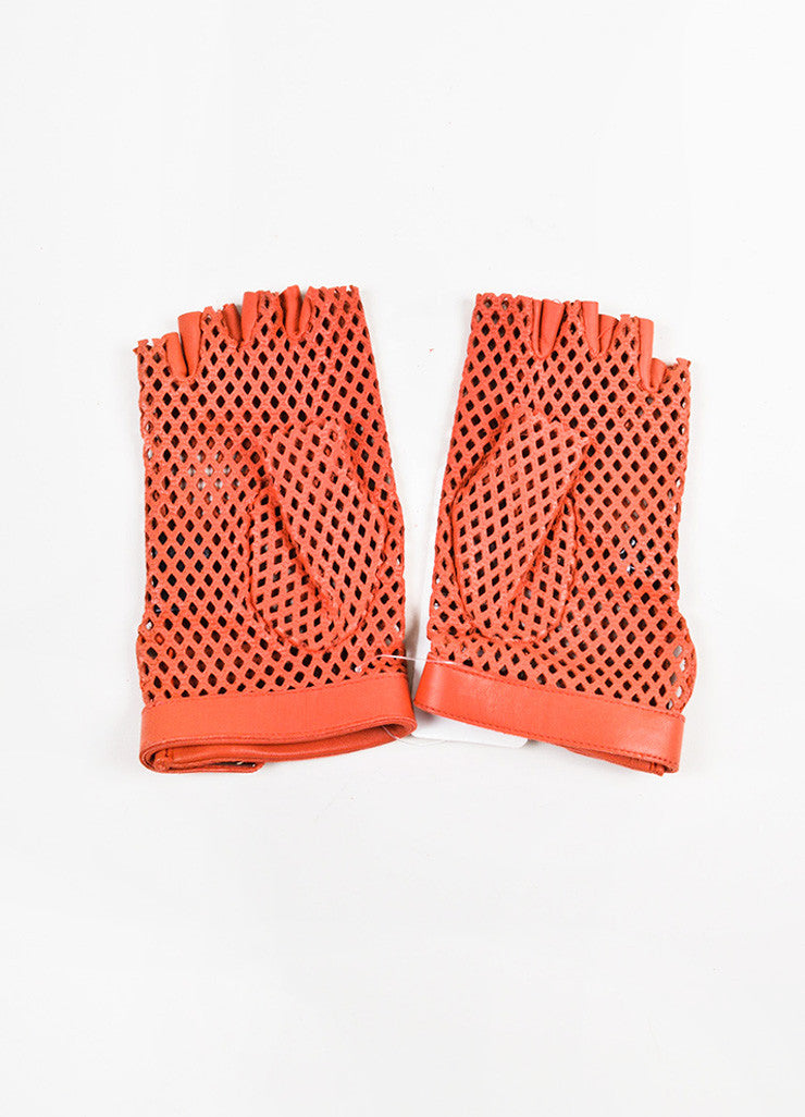 Chanel Red Leather Perforated Fingerless Gloves Backview