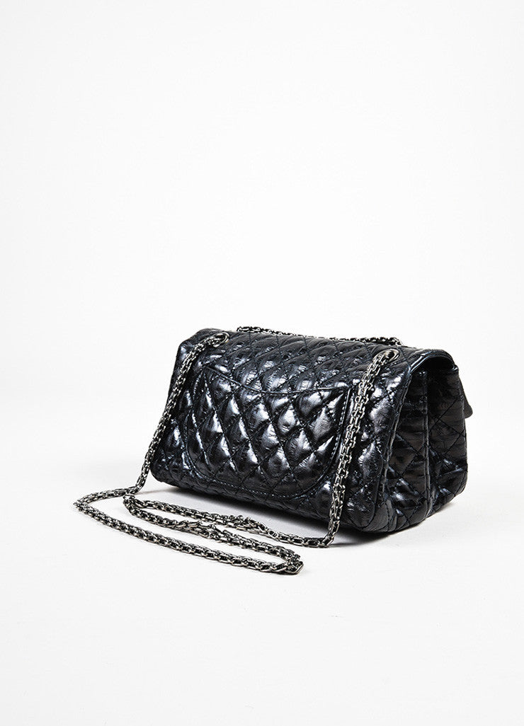 "Chanel Black Leather Metallic Stripe Quilted ""Accordion Reissue"" Chain Flap Bag Sideview"