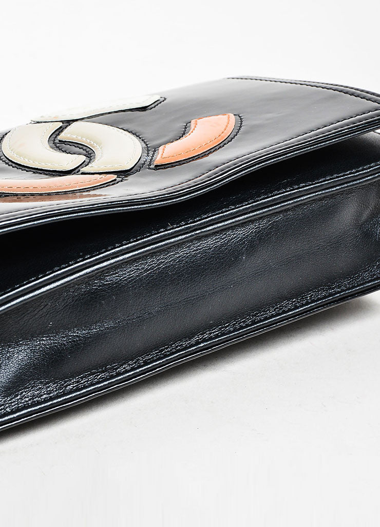 Black and Multicolor Chanel Patent Leather Convertible Clutch Crossbody Bag Bottom View