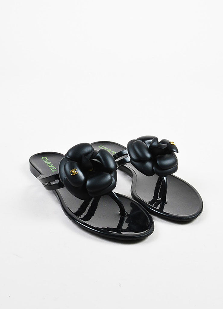 Chanel Black Rubber Camellia Flower Jelly Thong Flat Sandals frontview