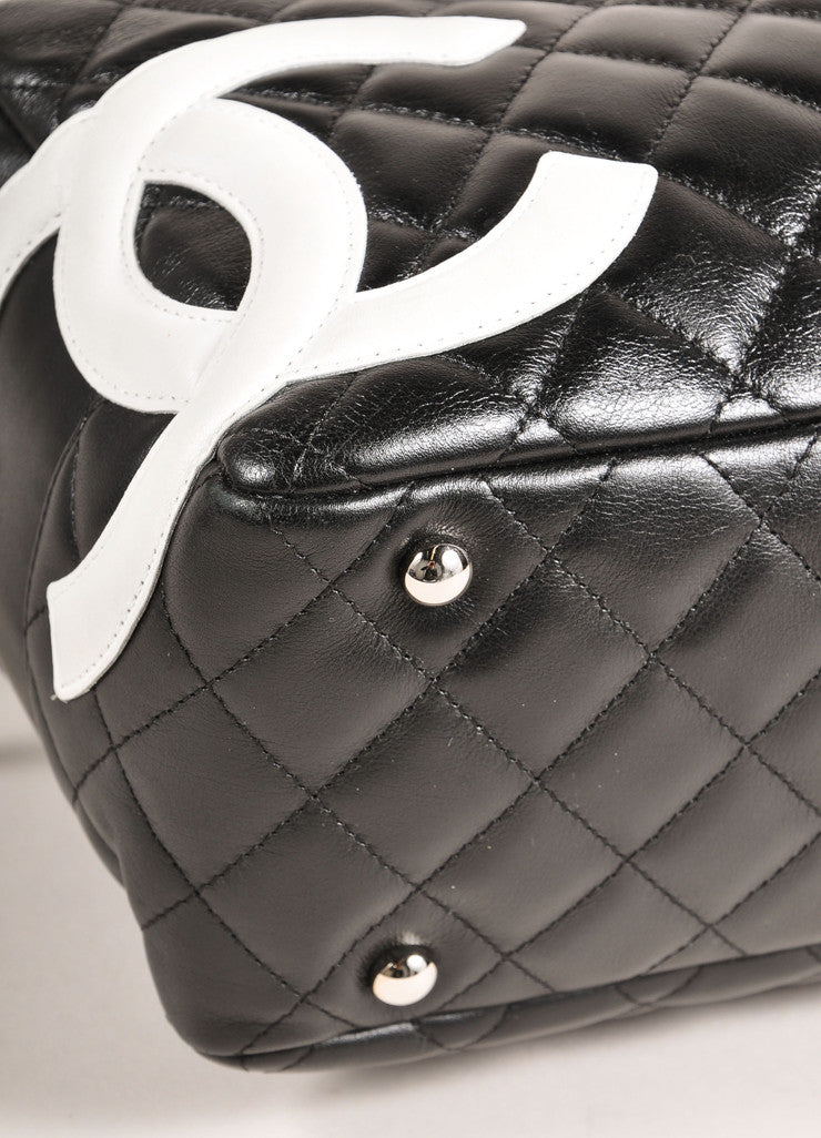 "Chanel Black and White Quilted Leather ""Cambon Ligne Bowler"" Shoulder Bag Detail"