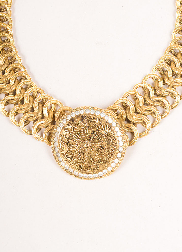 Chanel Gold Toned Chain Link Floral Medallion Choker Necklace Detail