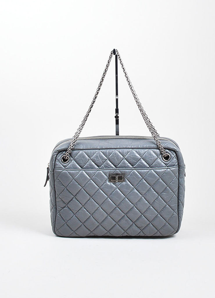 Chanel Grey Reissue Large Camera Bag Frontview