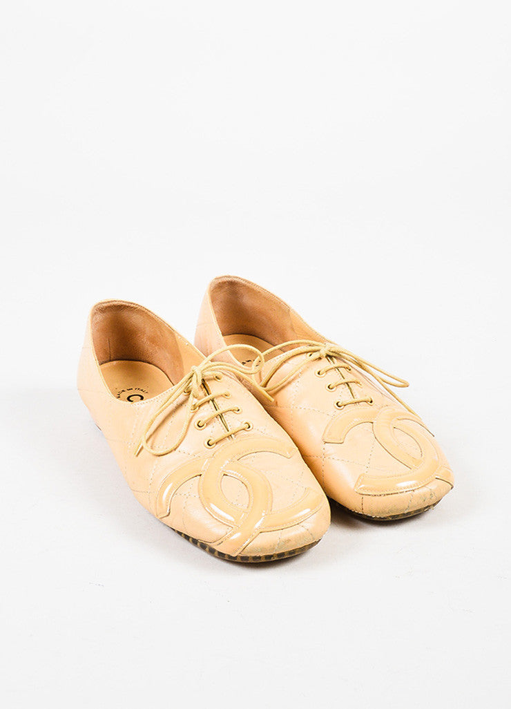 Chanel Nude Leather 'CC' Lace Up Oxfords Frontview