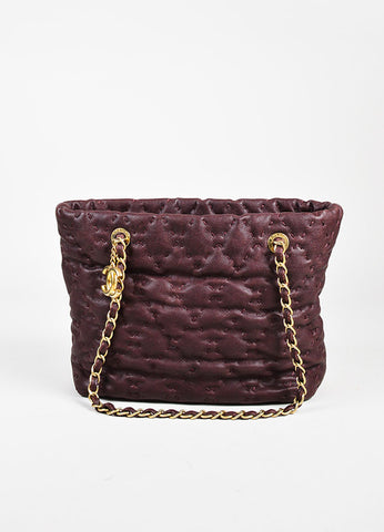 "Chanel Plum Caviar Leather Gold Toned ""On the Road"" Tote Bag Frontview"