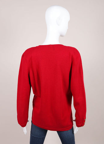 Chanel Red Cashmere Long Sleeve Front Button Cardigan Backview