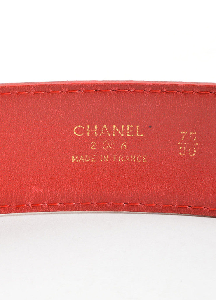 "Chanel Red and Gold Toned Leather ""CC"" Round Buckle Belt Brand"