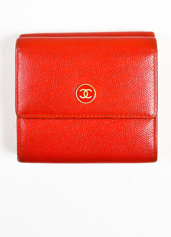 Red Chanel Leather Gold Toned Metal 'CC' Flap Top Compact Wallet Frontview