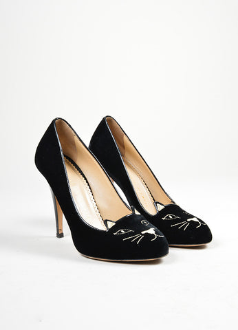 "Black and Metallic Gold Charlotte Olympia Velvet ""Kitty"" Embroidered Pumps Frontview"