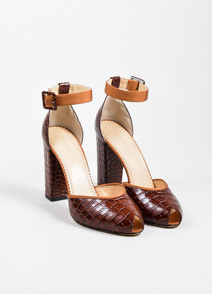 "Brown Charlotte Olympia Croc Embossed  ""Renee"" Ankle Strap Heels Frontview"