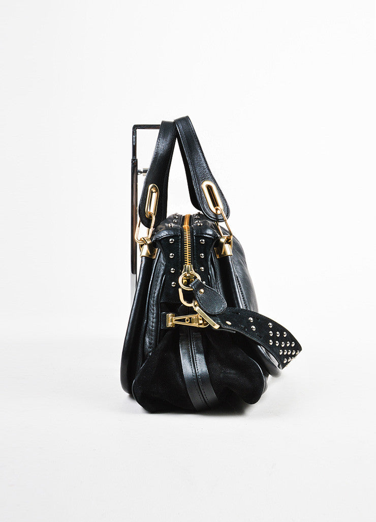 "Black and Gold Toned Chloe Leather and Suede Studded Medium ""Paraty Military"" Bag Sideview"
