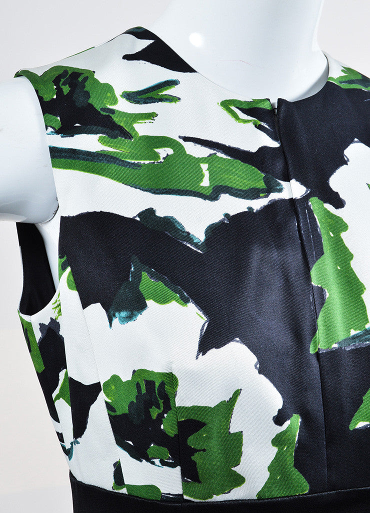 Black, Green, and White Christian Dior Silk Printed Gown Detail