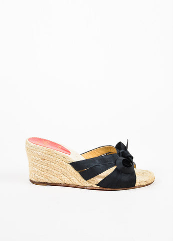 "Christian Louboutin Black Strappy Bow Wedge ""Tiburon"" Mule Sandals Sideview"