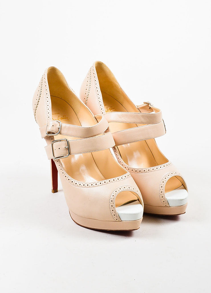 "Beige í_í_Œ¢í_?çí_í_Christian Louboutin Leather Buckle ""Luly 140"" Peep Toe Pumps Frontview"