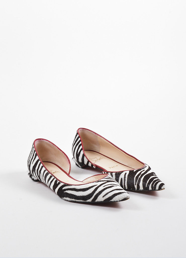 Christian Louboutin Black, White, and Red Leather Pony Hair d'Orsay Zebra Flats Frontview