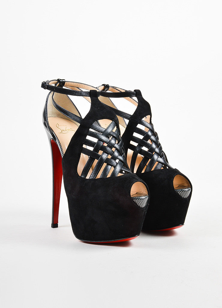 "Christian Louboutin Black Suede Crisscross ""Carlota"" Pumps Frontview"