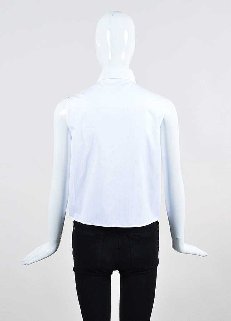 Christopher Kane White Cotton Button Down Pleated Trapeze Crop Top Backview
