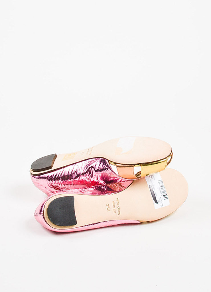 Dolce & Gabbana Pink, Orange, and Gold Metallic Patent Leather Cut Out Flats Outsoles