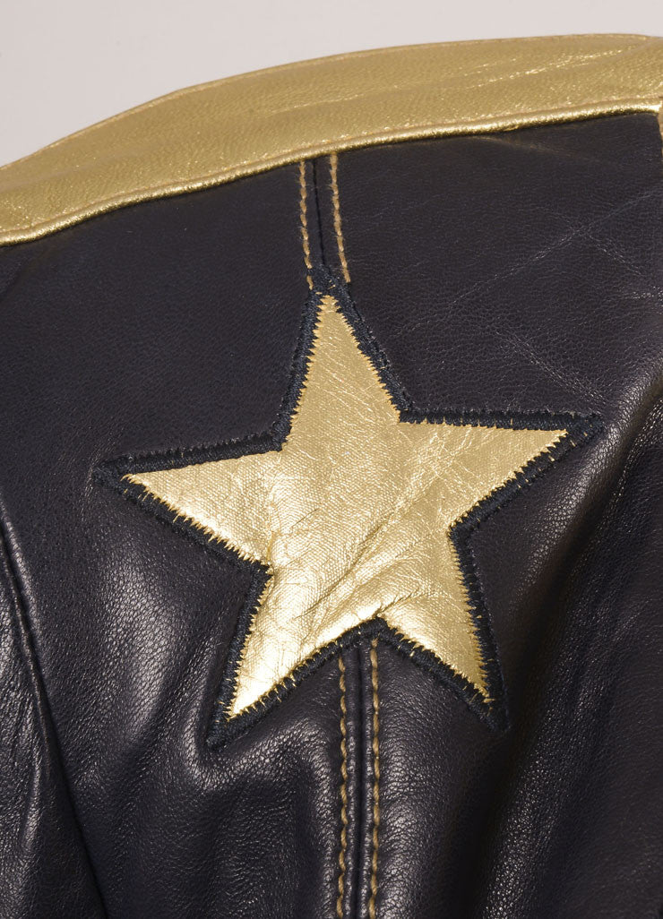 Escada Black and Gold Leather Star Embroidered Jacket Detail