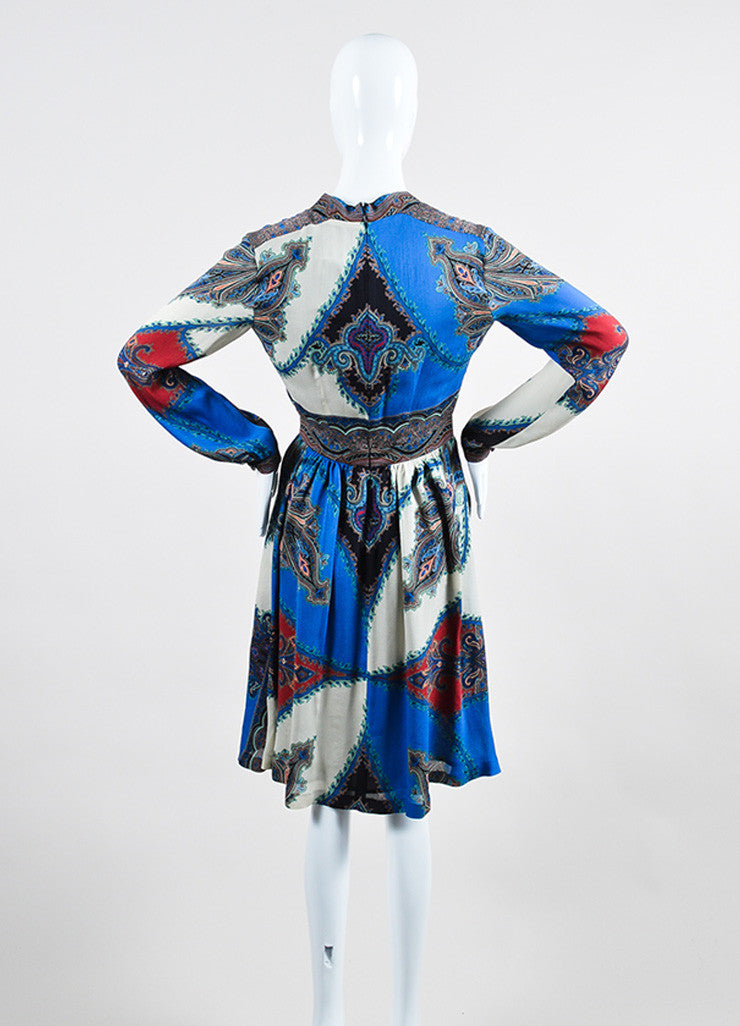 Blue and Multicolor Etro Silk Chiffon Paisley Print V-Neck Long Sleeve Dress Backview