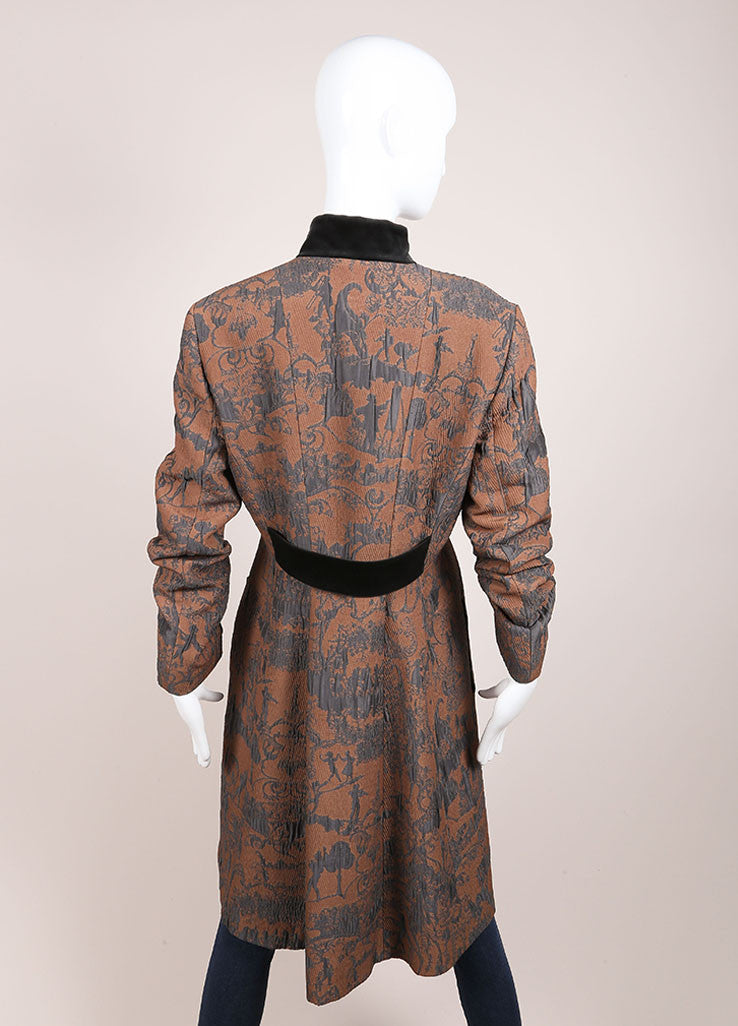 Etro Tan and Blue Rococo Brocade Embroidered Velvet Trim Buttoned Coat Backview