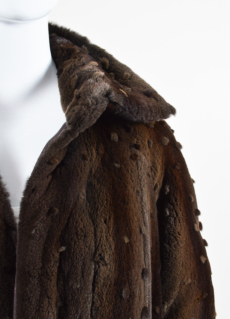 Ì_Ì_å¢Ì_?ÁÌ_Ì_Fendi Brown Sheared Mink Dot Pattern Long Open Front Coat Detail