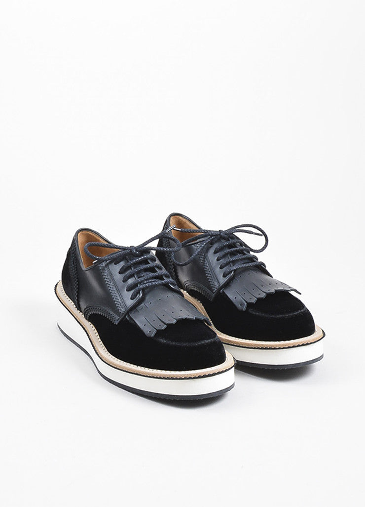 Black Givenchy Velvet and Leather Rottweiler Derby Creeper Loafers Frontview