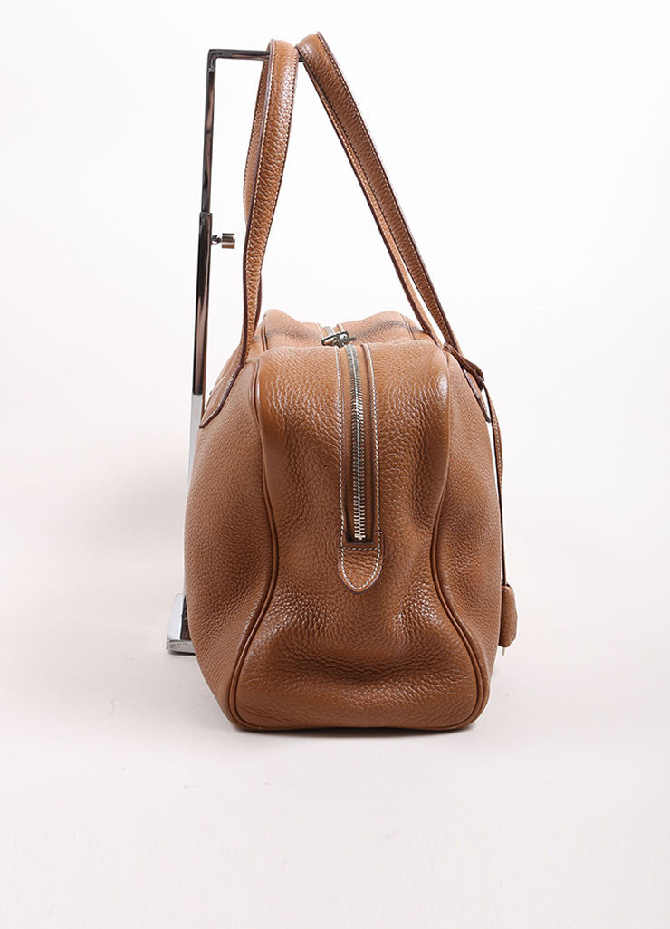 "Hermes Brown Clemence Leather ""Victoria"" Satchel Bag Sideview"