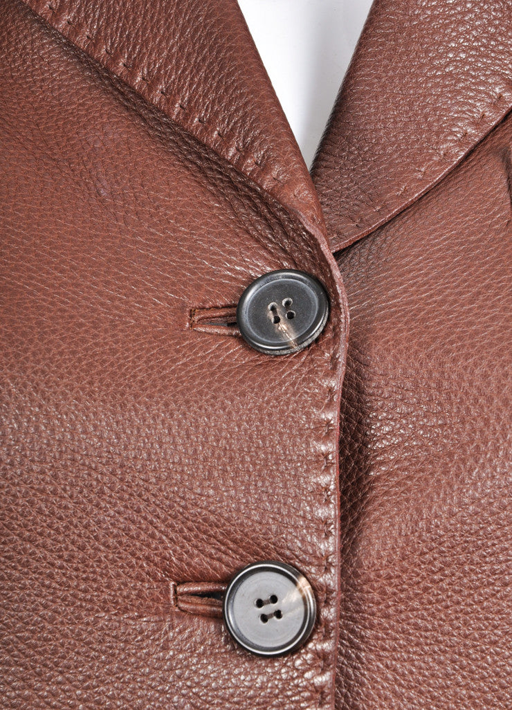 Hermes Chocolate Brown Pebbled Leather Long Sleeve Jacket Detail