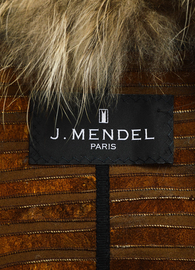 J. Mendel Brown, Beige, and Black Muskrat and Raccoon Fur Striped Knee Length Shawl Vest Brand
