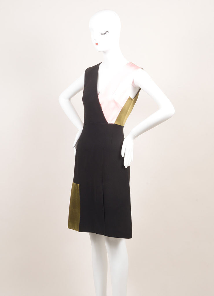 "Jonathan Saunders New With Tags Black, Green, and Pink Satin and Crepe ""Adeline"" Dress Sideview"