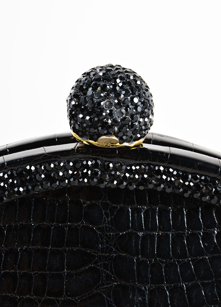 Judith Leiber Black Alligator Leather Chain Strap Clutch Bag Detail 2