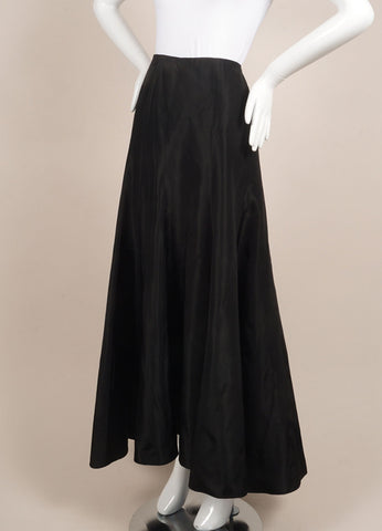 Kevan Hall Black Silk Taffeta Maxi Skirt Sideview